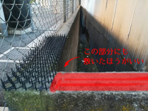 ブロック塀の上にトゲトゲシートを置いて対策する